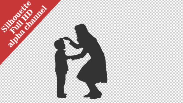 Silhouette of a Woman Combing Her Little Son Hair