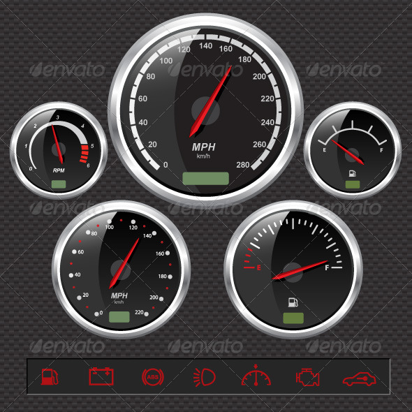 Graphic River Speedometers Vectors -  Objects 147706