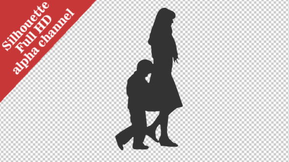 VideoHive Silhouette of a Woman Walking with a Little Boy 12107242