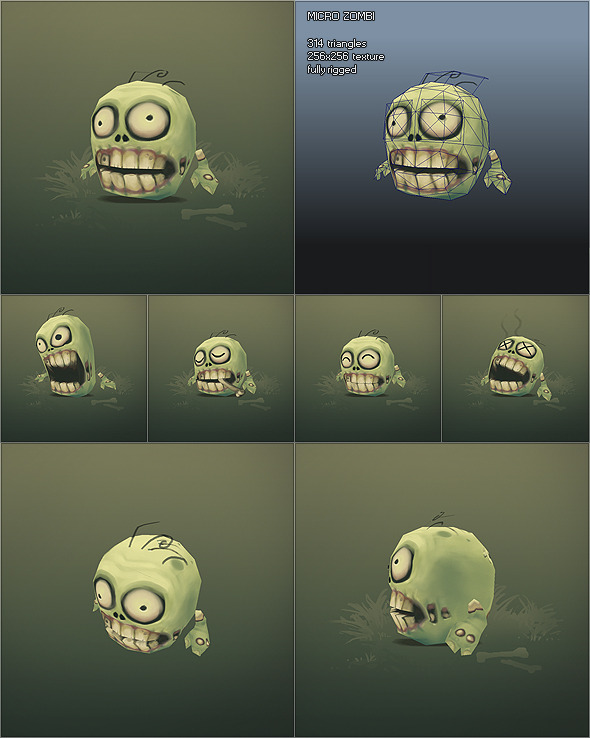 Low Poly Micro Zombie Brian 3DOcean -  Fantasy and Fiction  Monsters and Creatures 1214365 torrent