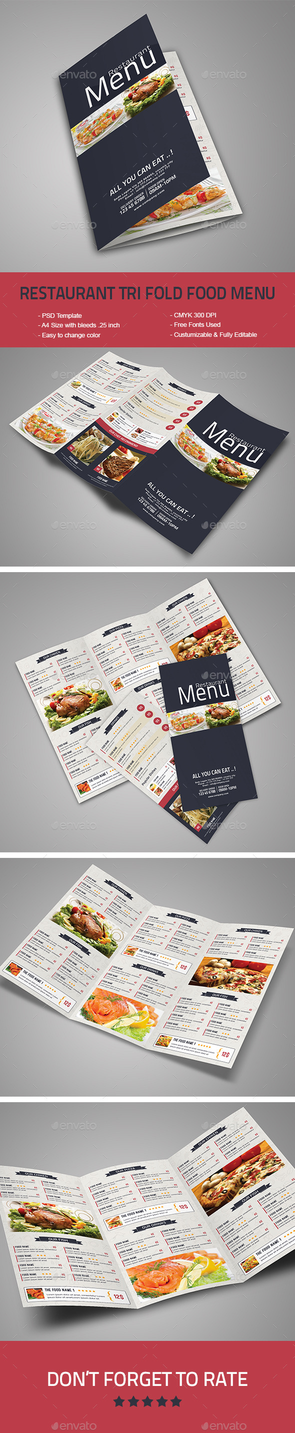 Restaurant Tri-Fold Food Menu