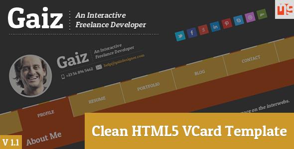 Gaiz Clean Horizontal Scrolling Responsive Vcard