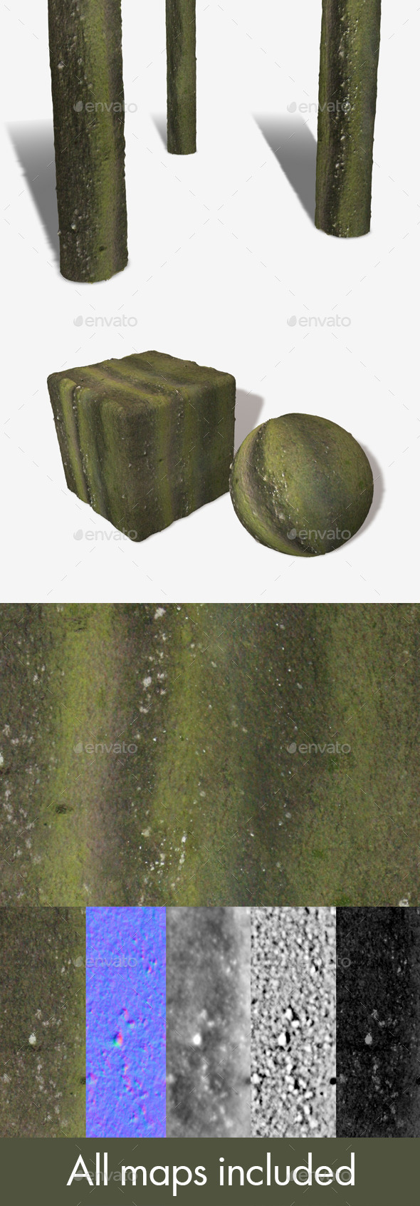 3DOcean Green Bark Seamless Texture 12123813