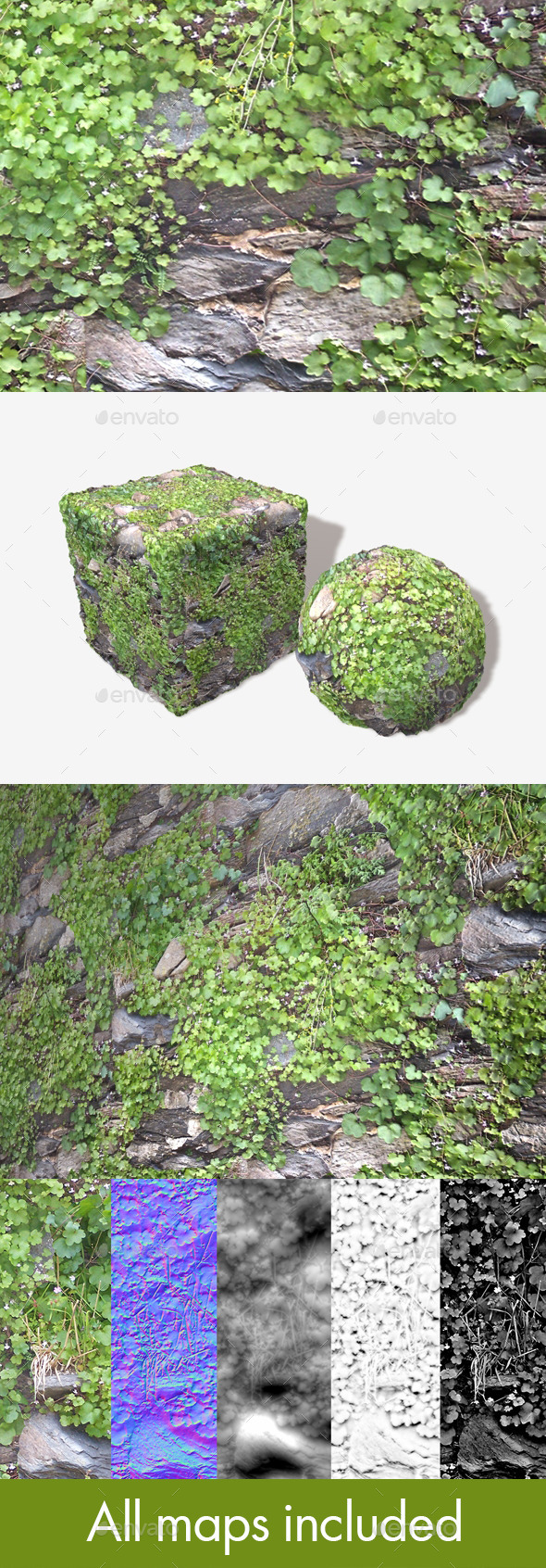 3DOcean Rock Wall Plants Seamless Texture 12124183
