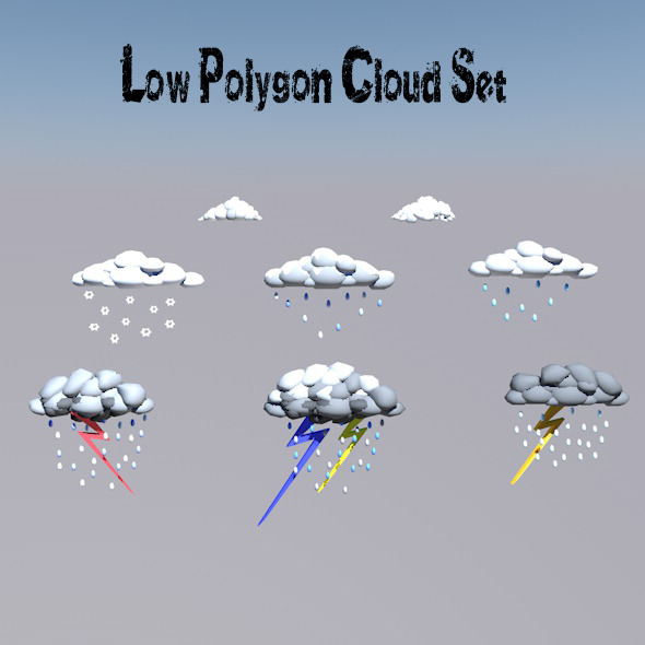 LowPolygon_Cloud_Set - 3DOcean Item for Sale