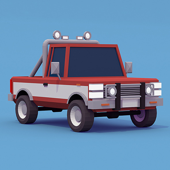 3DOcean Pickup Truck low-poly 12128757