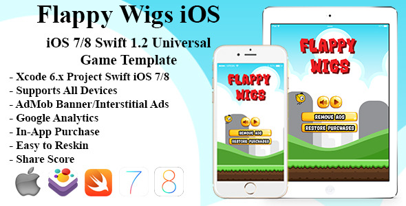 CodeCanyon Flappy Wigs Universal iOS Game Swift Flappy Bird 12133671
