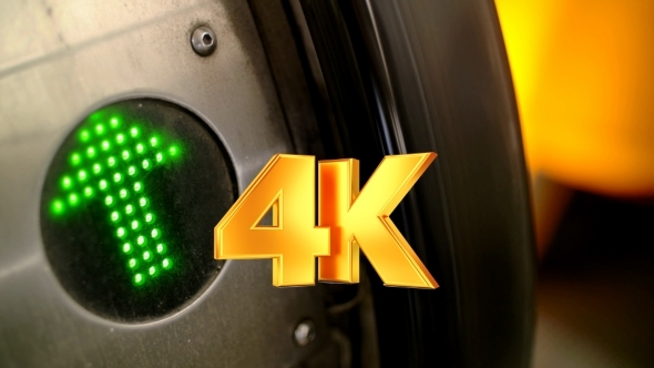 VideoHive Green Arrow Indicator On Working Escalator 12138057