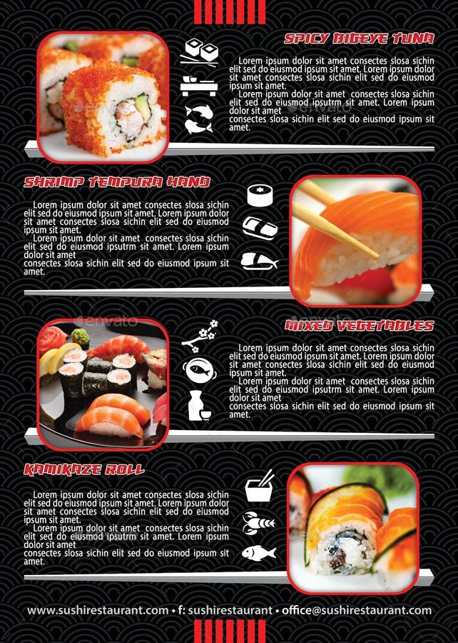 Sushi Restaurant Menu Flyer Template 105 by 21min – Menu Flyer Template