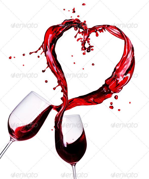 Two Glasses Of Red Wine Abstract Heart Splash - Stock Photo - Images