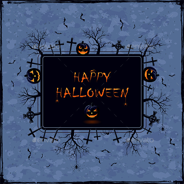 Halloween Banner on Grunge Background