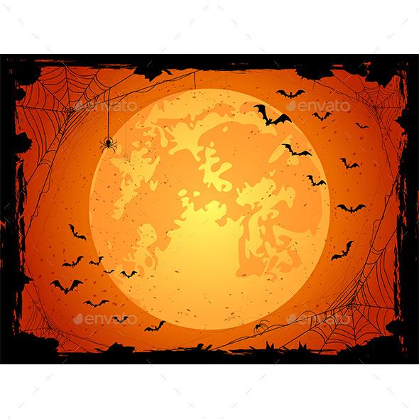 Dark Halloween Background with Bats