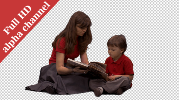 VideoHive Little Boy Listening to His Mom Reading a Book 2 12148477