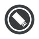 Round black USB stick sign