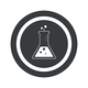 Round black conical flask sign