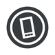 Round black smartphone sign
