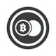 Round black bitcoin coin sign