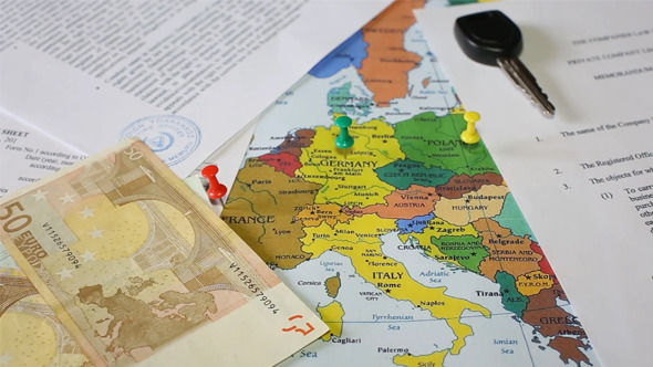 Map of Europe with the Documents on the Table