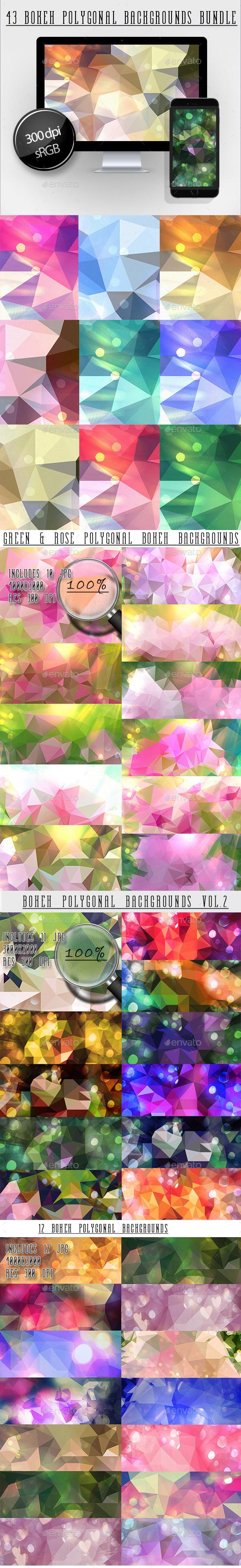 Bokeh Polygonal Backgrounds Bundle