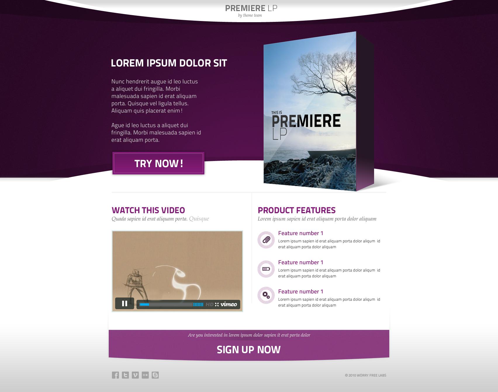 Premiere - Landing Page