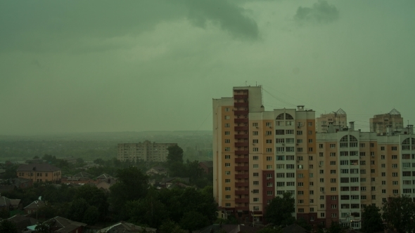VideoHive Rainy Day In City View From Rooftop 12152314