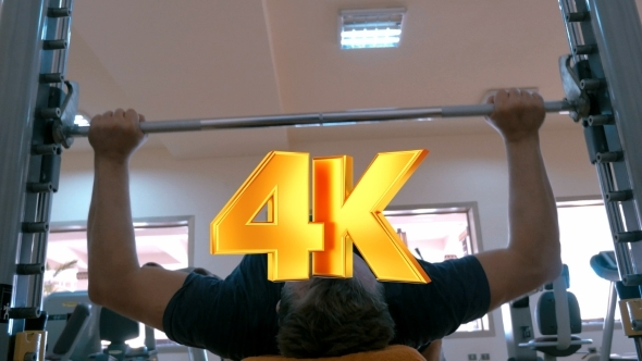 VideoHive Strong Man Working On Bench Press 12152699