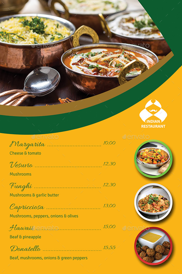Indian Restaurant Menu Design
