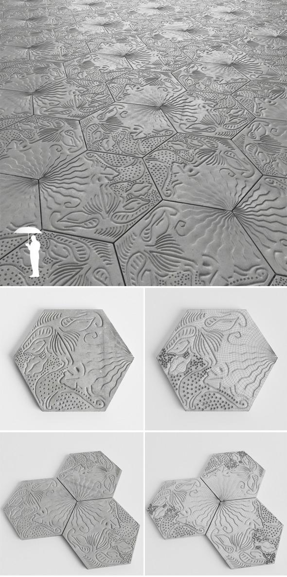Gaudi Barcelona tiles - 3DOcean Item for Sale