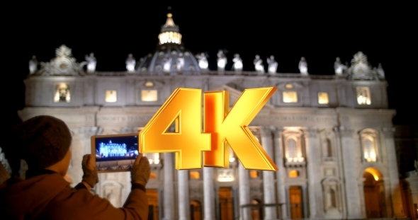 VideoHive Taking Pictures Of Night St Peters Basilica 12153168