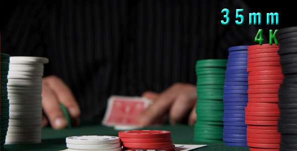 VideoHive Poker Chips And Player Looking At His Cards 02 12155185