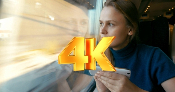 VideoHive Chatting On The Phone During Train Journey 12157588