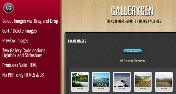 ドラッグ&ドロップHTML COVE GENERATORのFIR画像ギャラリーソート選択された二ギャラリーコードオプションのライトボックスとスライドショー画像は有効なHTMLを生成し、プレビュー画像はイメージを見つけるのイメージの削除を経由して画像を選択