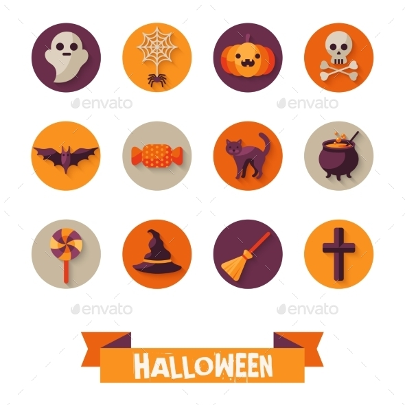 Set Of Halloween Characters On Circles