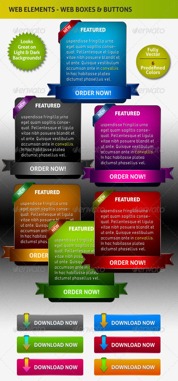 GraphicRiver Stylish Web Info Featured Boxes and Buttons 148251