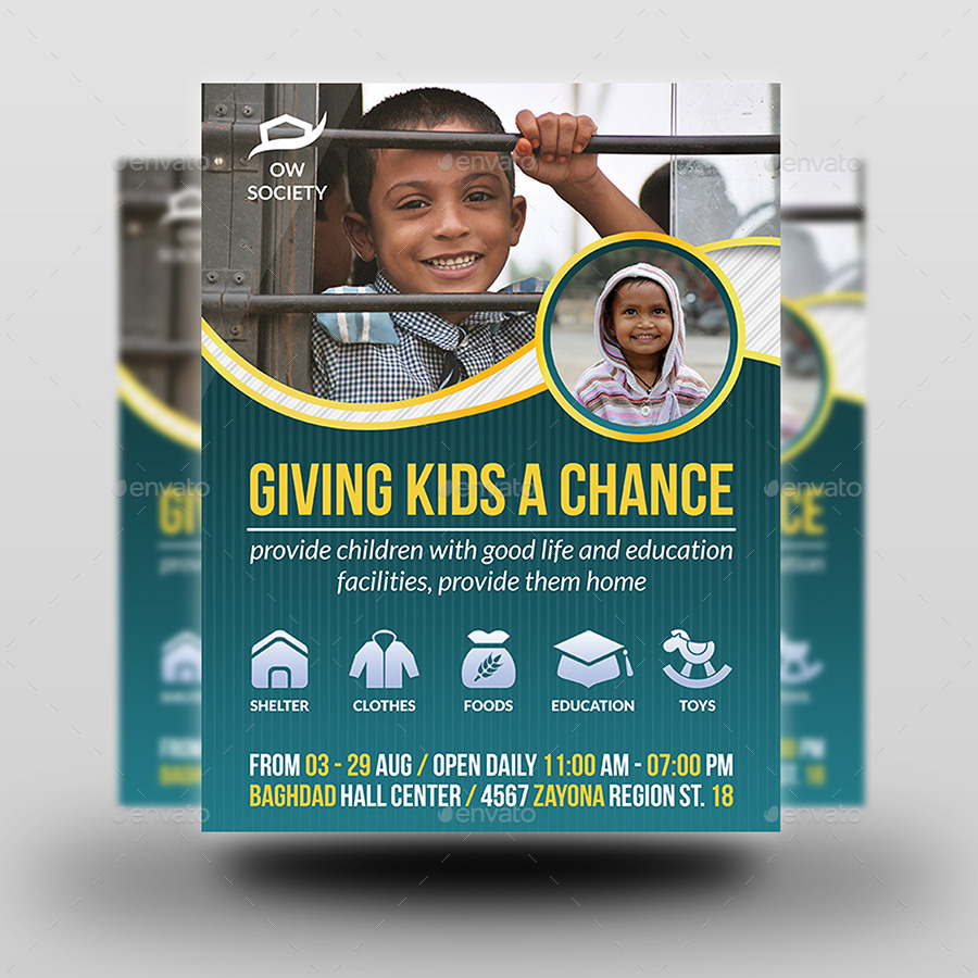 Kids Charity Flyer Template by OWPictures – Donation Flyer Template