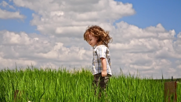 VideoHive Cute Boy Jumping In Green Meadow 12164846
