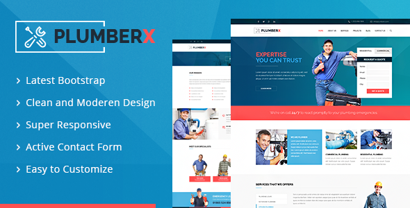 28. Plumberx - Plumber and Construction HTML Template
