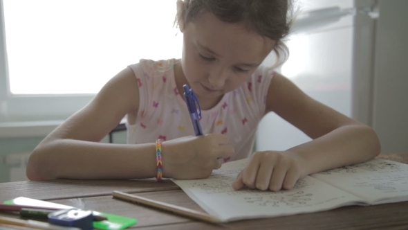 VideoHive Girl Is Doing Homework For Elementary School 12165743