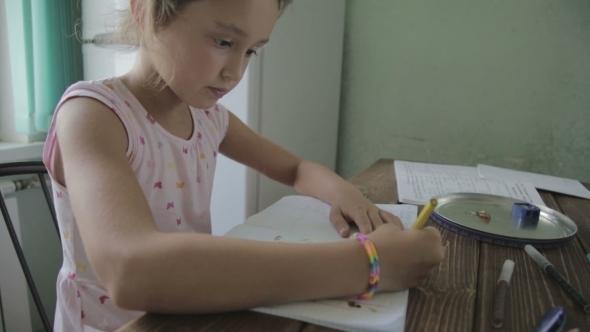 VideoHive Girl Is Doing Homework For Elementary School 12165747