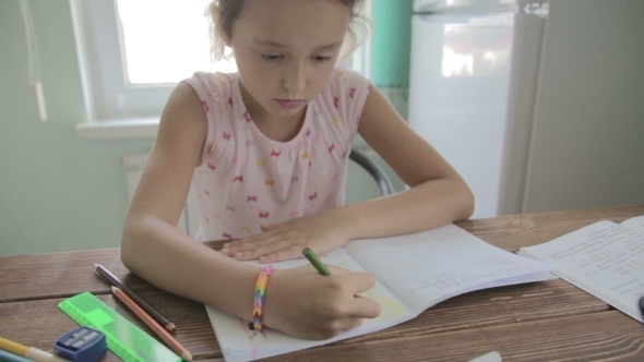 VideoHive Girl Is Doing Homework For Elementary School 12165766