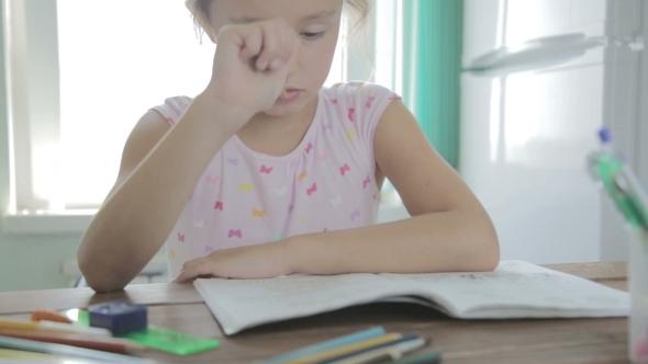 VideoHive Girl Is Doing Homework For Elementary School 12165773