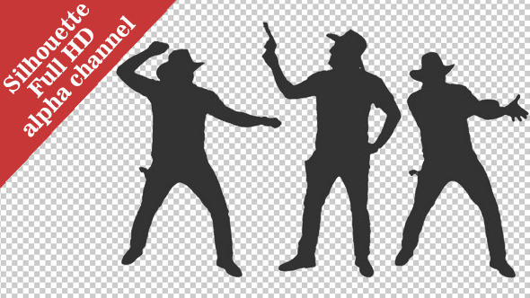 VideoHive Silhouette of a Cowboy Dancing & Shooting 12168665