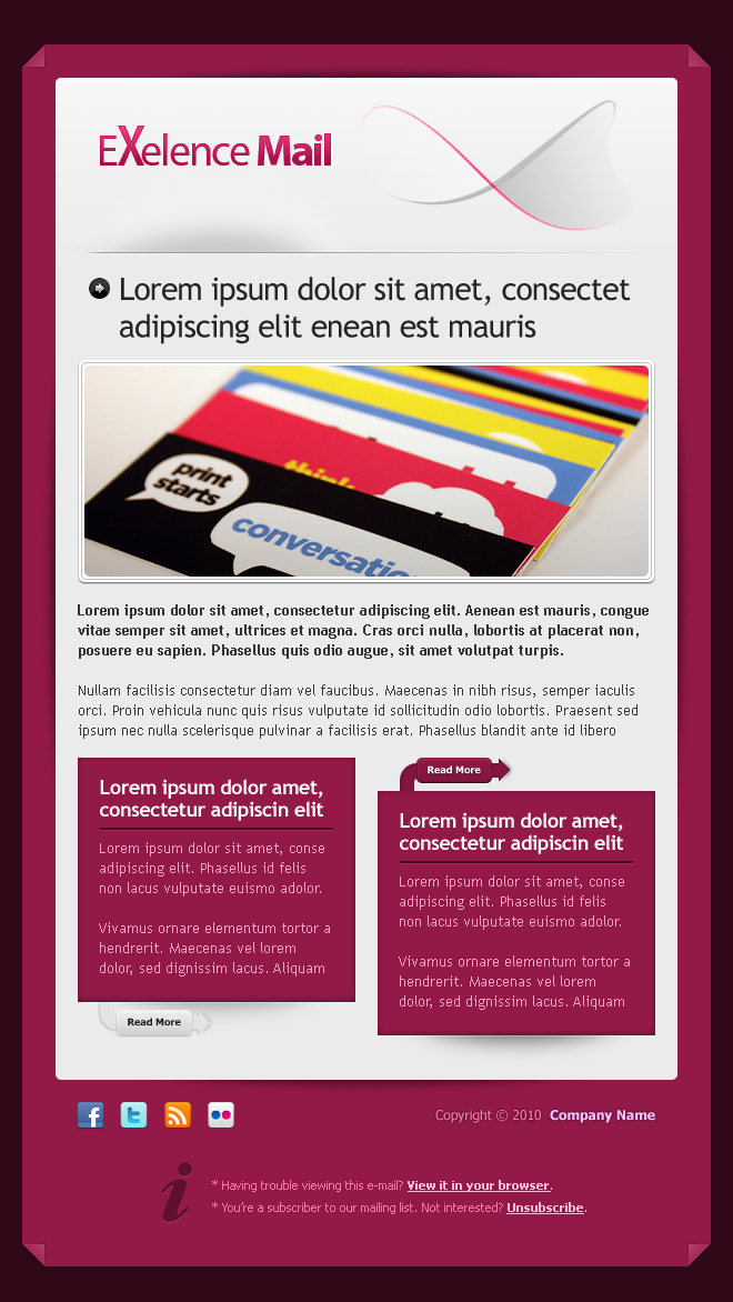 Exelence Mail, 4 layouts 6 color schemes