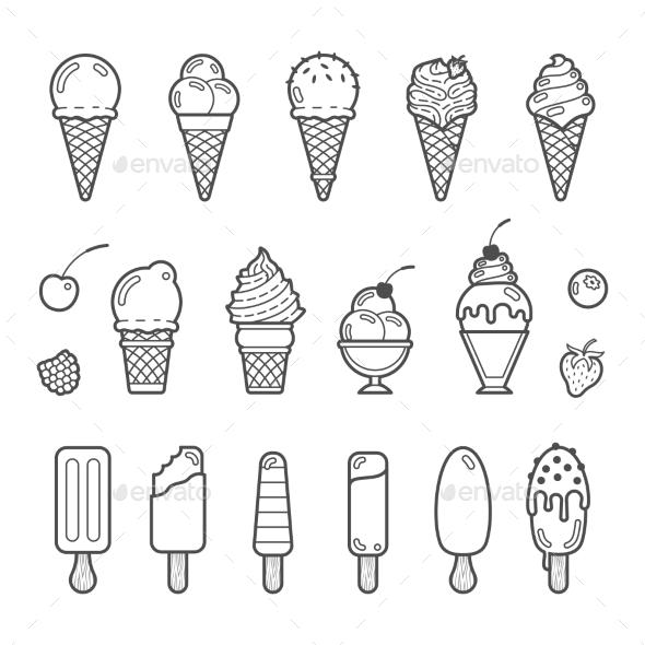Vector Icon Set Of Yummy Ice Cream