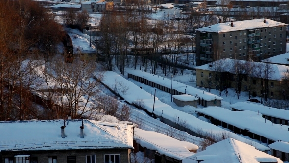 VideoHive Train With Cargo In Winter City 12173154