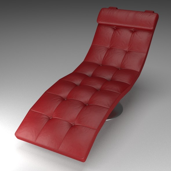3DOcean Red Leather Lounger 12174061