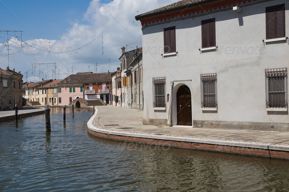 View of Comacchio. Emilia-Romagna. Italy. - Stock Photo - Images
