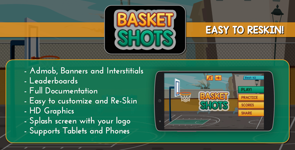 CodeCanyon Basket Shots HD Basketball Game Template 12176301