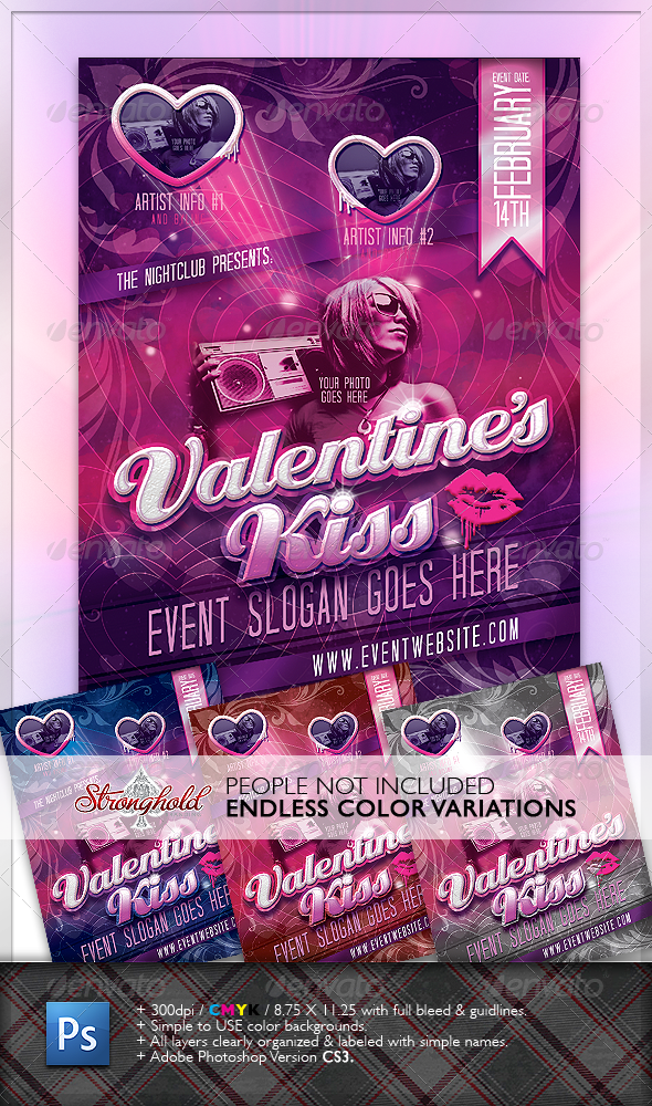 GraphicRiver Valentine s Kiss Flyer 1219108