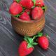Strawberries in wood bowl